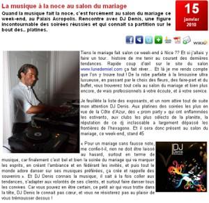 Article sur le site www.nice-premium.com | 15 janvier 2010